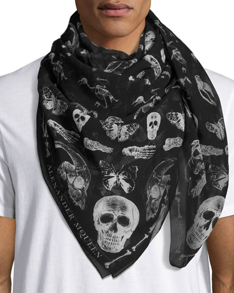 Alexander McQueen Men's Bones & Butterfly Silk Scarf