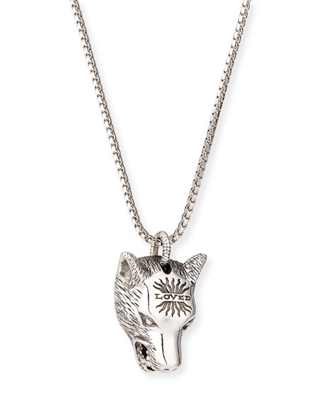 ca6f5fbdd Gucci Angry Forest Men'S Wolf Head Sterling Silver Necklace In Black ...