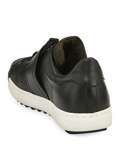 Arnoux Leather Grip-Strap Sneaker, Charcoal