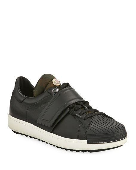 Moncler Arnoux Leather Grip-Strap Sneaker, Charcoal