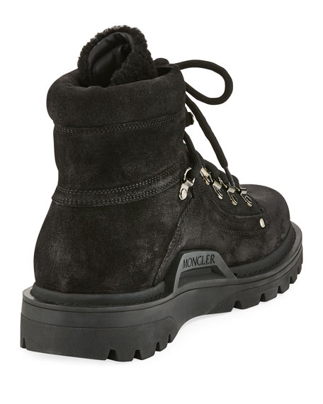 Egide Suede Hiking Boot with Shearling Trim, Black