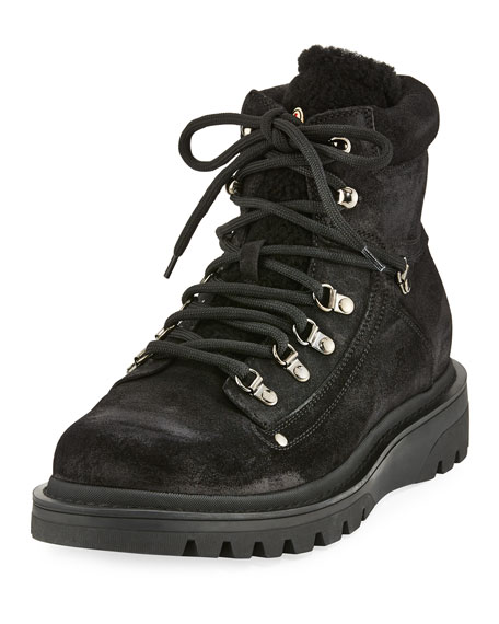Moncler Egide Suede Hiking Boot with Shearling Trim,