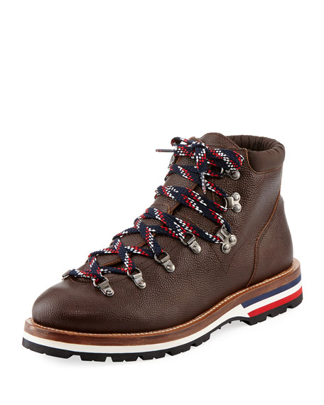 Moncler Peak Leather Lace-Up Ankle Boot, Dark Brown