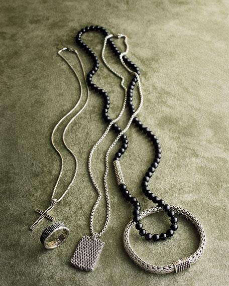 Men's Legends Naga Dragon Sterling Silver Dog Tag Necklace
