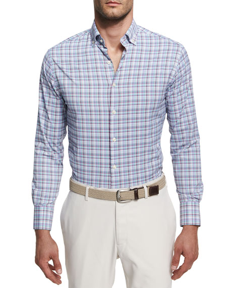 Peter Millar Trix Performance Plaid Sport Shirt