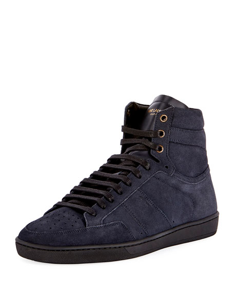 SL/10H Men's Signature Court Classic Suede High-Top Sneaker, Navy