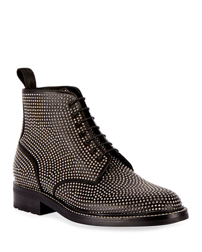 William 20 Studded Leather Combat Boot, Gray