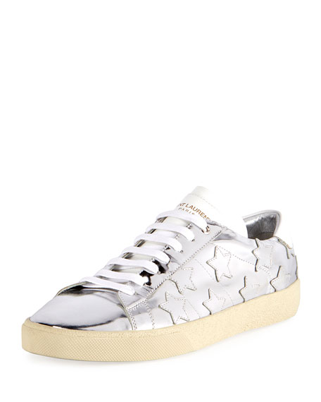 Silver Court Classic star sneakers - Metallic Saint Laurent GeBn7m71