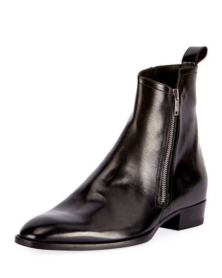 Saint Laurent Wyatt 30 Side-Zip Leather Ankle Boot,