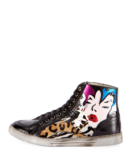 Men's Antibes Patchwork Leather High-Top Sneakers, Multicolor