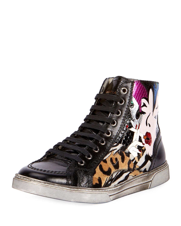0154c7db1de95 Saint Laurent Men s Antibes Patchwork Leather High-Top Sneakers ...