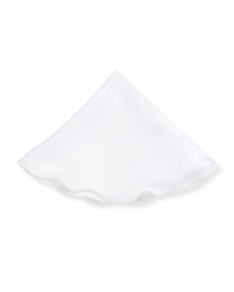 Solid Linen Pocket Circle, White