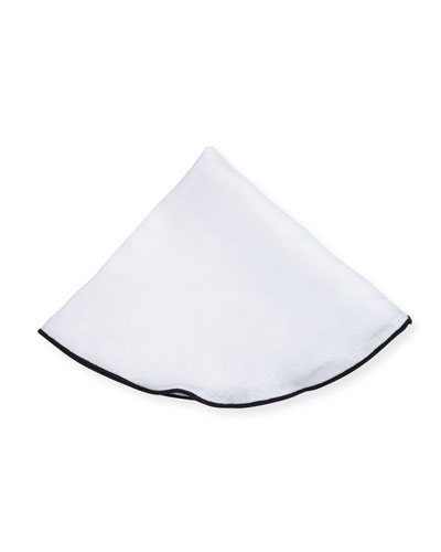 Contrast-Edge Linen Pocket Circle, White/Black