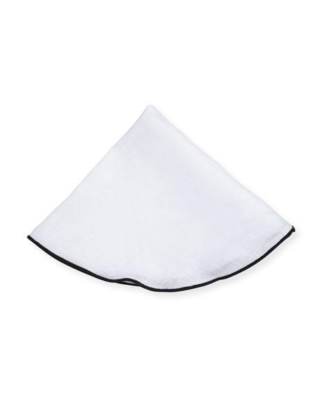 Edward Armah Contrast-Edge Linen Pocket Circle, White/Black