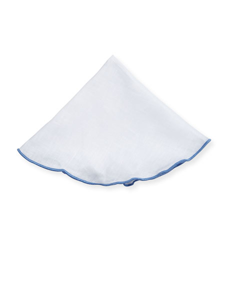 Contrast-Edge Linen Pocket Circle, White/Light Blue