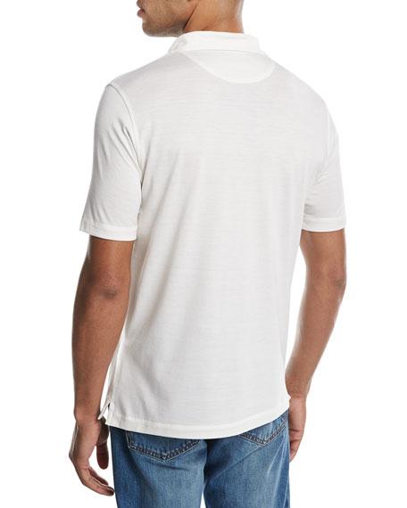 Cotton-Silk Polo Shirt, White