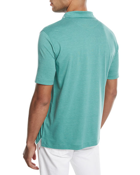 Cotton-Silk Polo Shirt, Green