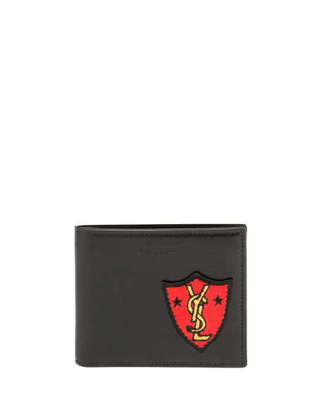 YSL Patch Leather Bi-Fold Wallet, Black