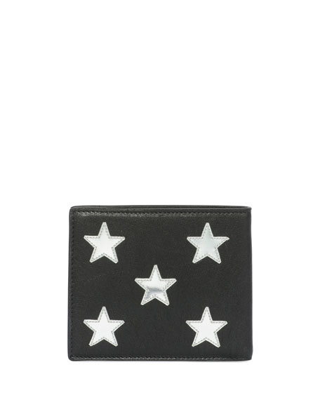 Metallic-Star Leather Bi-Fold Wallet, Black/Silver
