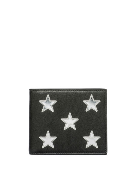 Saint Laurent Metallic-Star Leather Bi-Fold Wallet, Black/Silver