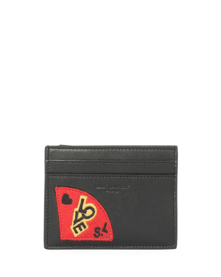 Saint Laurent Love Patch Leather Card Case, Black