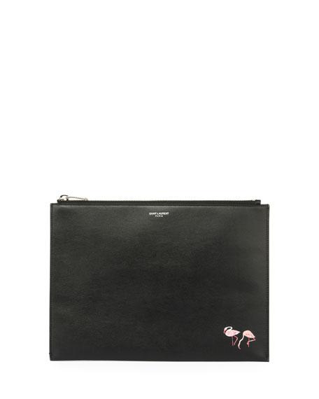 Flamingo-Print Leather Zip-Top Pouch, Black