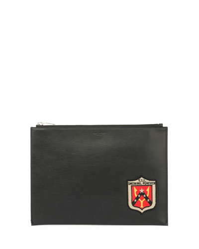 YSL Smoking Forever Leather Zip-Top Pouch, Black