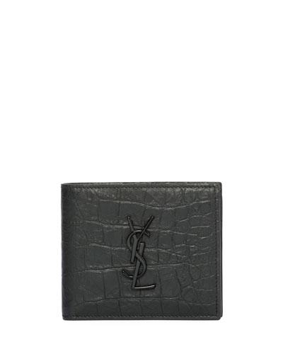YSL Monogram Croc-Embossed Leather Bi-Fold Wallet, Black
