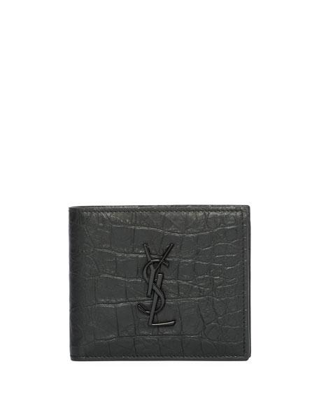 bd7d6766d58ff Saint Laurent YSL Monogram Croc-Embossed Leather Bi-Fold Wallet ...