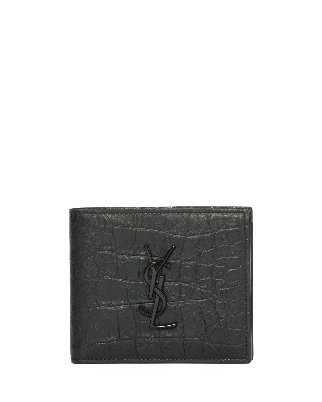 hot sale online ae083 8d8c1 YSL Monogram Croc-Embossed Leather Bi-Fold Wallet, Black