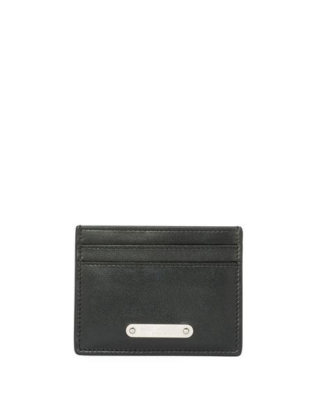 Saint Laurent Classic Plaque Leather Card Case, Black