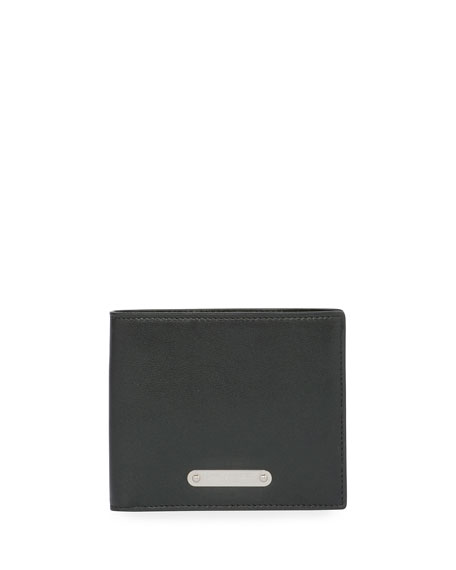 Classic Plaque Leather Bi-Fold Wallet