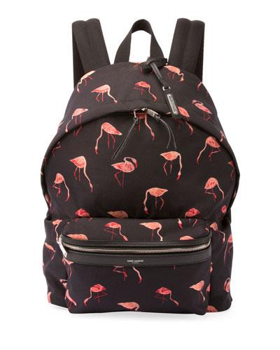 City Flamingo Nylon Backpack, Black/Multicolor
