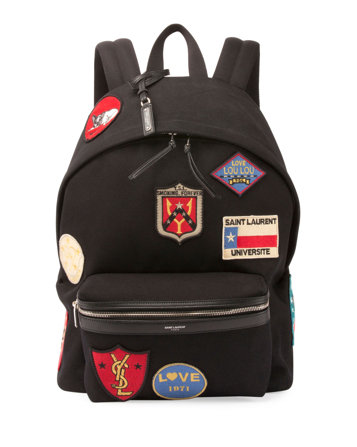 743fb9ece07 Saint Laurent City Canvas Patch Backpack, Black | Neiman Marcus