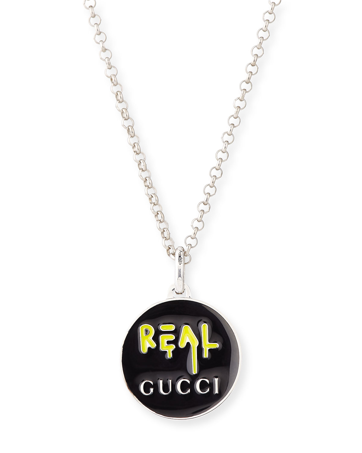 Gucci guccighost mens sterling silver real necklace neiman marcus aloadofball Choice Image