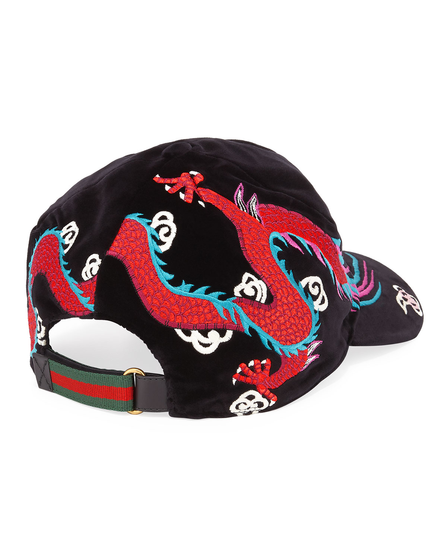 6871b06d Gucci Velvet Dragon-Embroidered Baseball Cap | Neiman Marcus