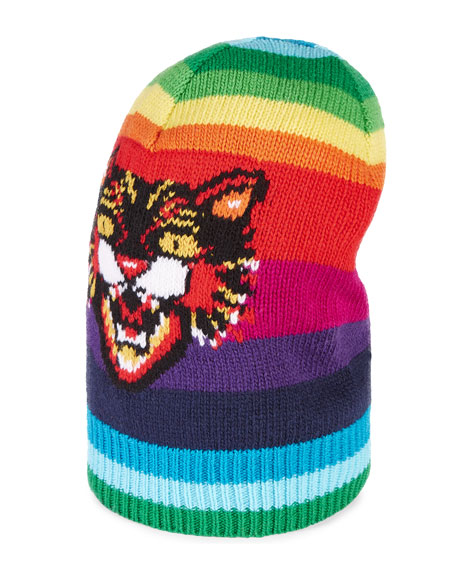 Gucci Striped Wool Hat with Angry Cat
