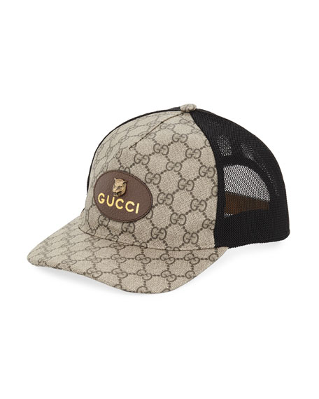 Gucci GG Supreme Baseball Cap with Feline Head