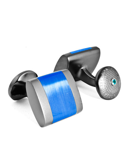 Tateossian Freeway Contrast-Inset Cuff Links, Blue