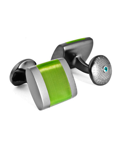 Freeway Contrast-Inset Cuff Links, Green