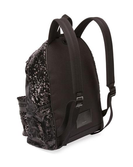 City Sequined Nylon Backpack, Black