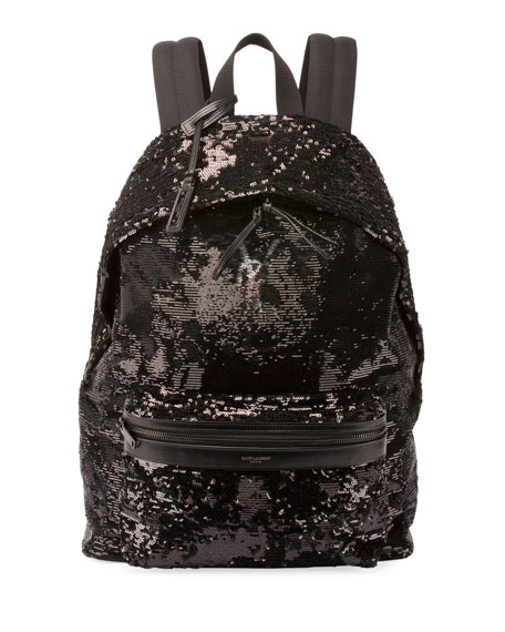 Saint Laurent City Sequined Nylon Backpack, Black
