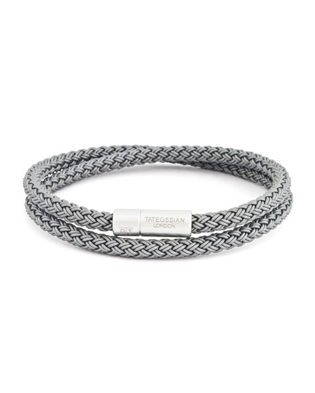 Men's Cable Double-Wrap Bracelet, Gray