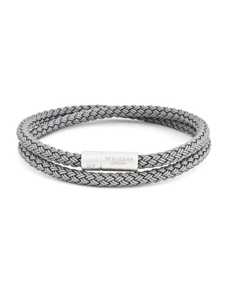 Men's Cable Double-Wrap Bracelet, Gray