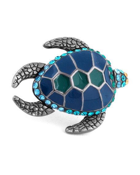 Tateossian Swarovski?? Turtle Lapel Pin, Blue