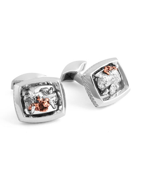 Tateossian Limited Edition Signature Copper Nugget Cuff Links