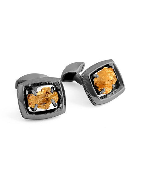 Tateossian Limited Edition Gold Nugget Cuff Links