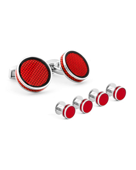 Round Tablet Ice Cuff Links & Stud Set, Red