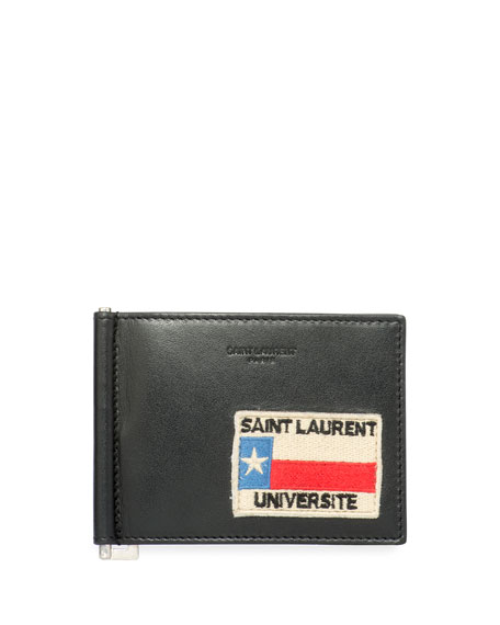 Saint Laurent Universite Patch Leather Money Clip Wallet