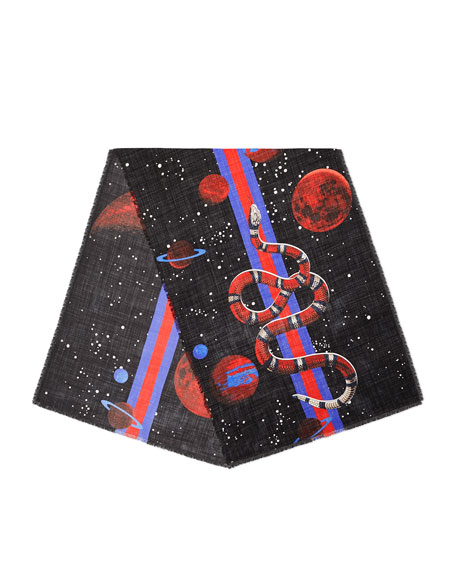 Gucci Galaxy-Print Wool Scarf, Black/Red